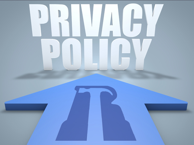 Privacy Policy - 3d render concept of blue arrow pointing to text.