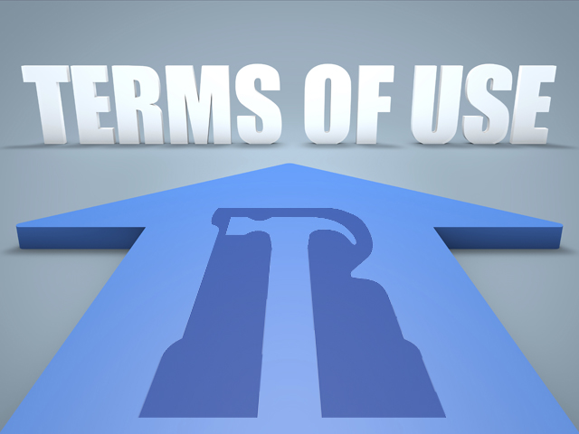 Terms of use - 3d render concept of blue arrow pointing to text.